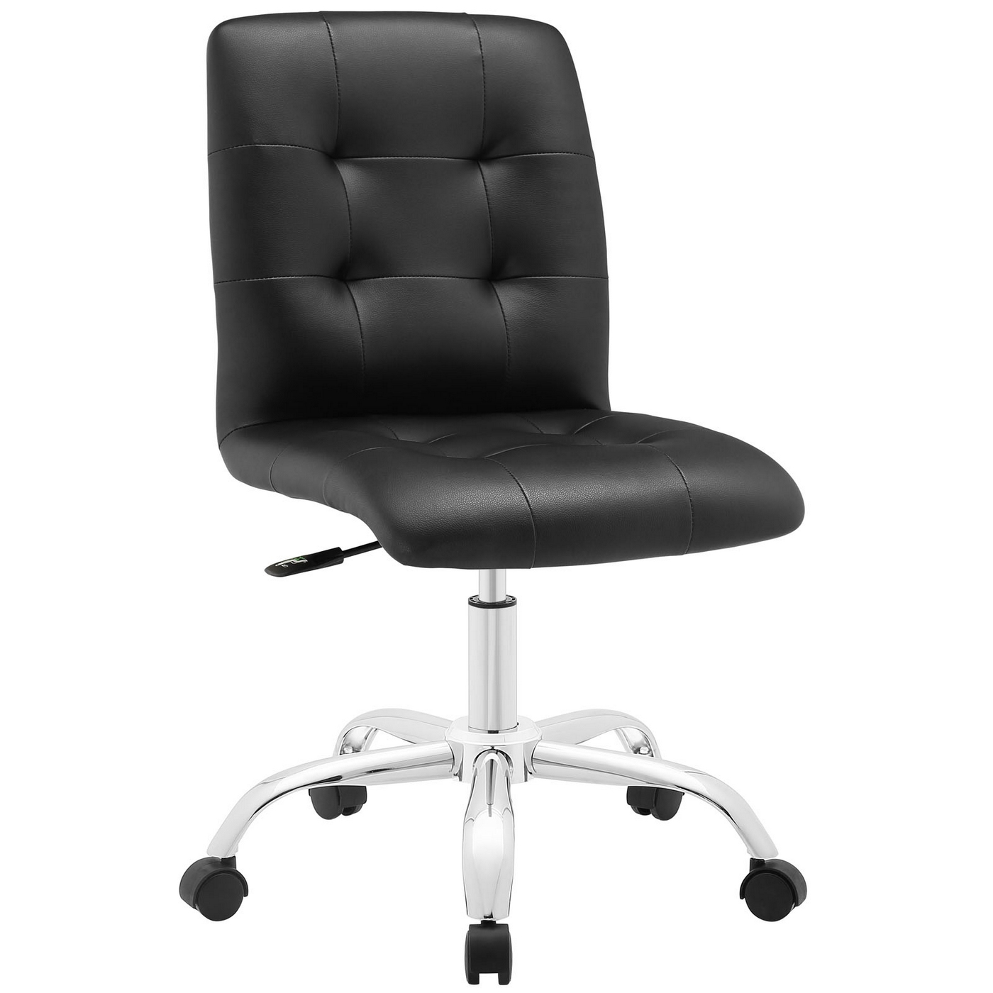 Prim modern faux leather armless mid back office chair black for Contemporary black leather chairs