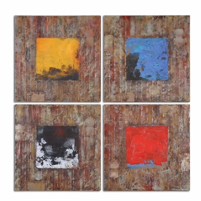 Primary Blocks Set of 4 Wall Hand Painted Art 31303
