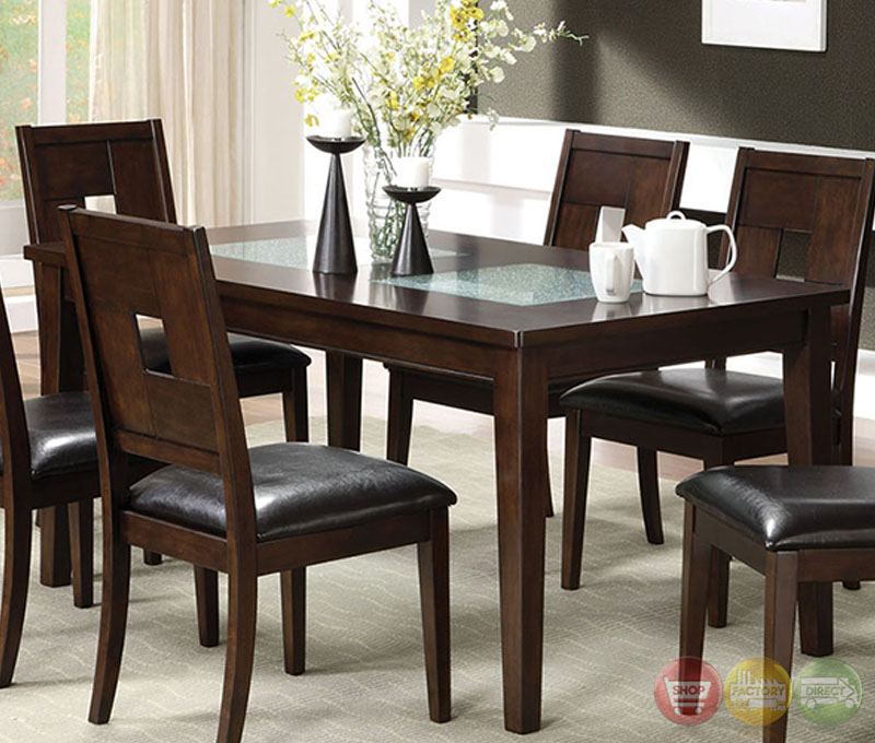 primrose i contemporary dark walnut casual dining set with cracked glass inserts cm3093t. Black Bedroom Furniture Sets. Home Design Ideas