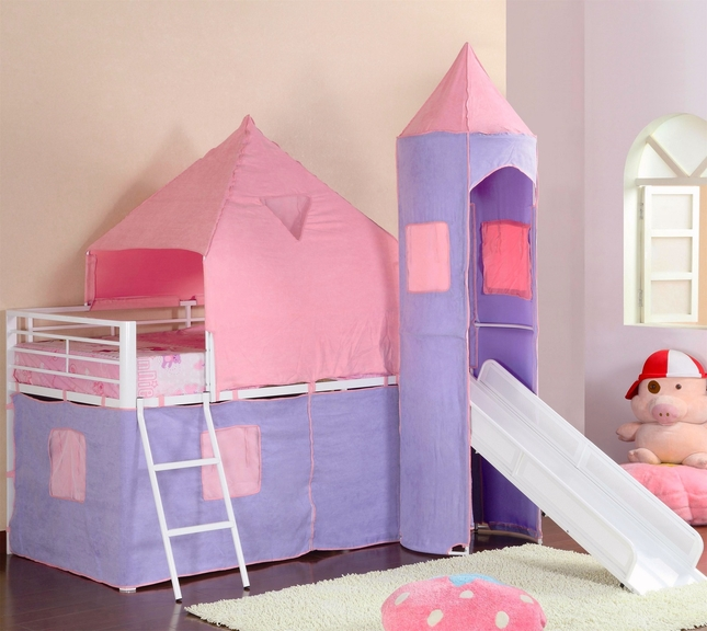 Princess Castle Pink and Purple Fabric Tent Twin Loft Bed