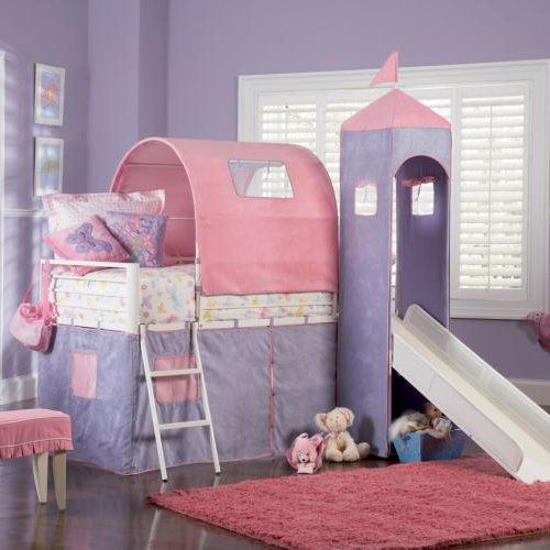 Princess castle twin size tent loft bed with slide set - Twin size princess bed set ...
