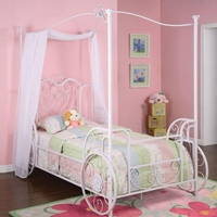 Princess Emily White And Pink Twin Size Canopy Bed