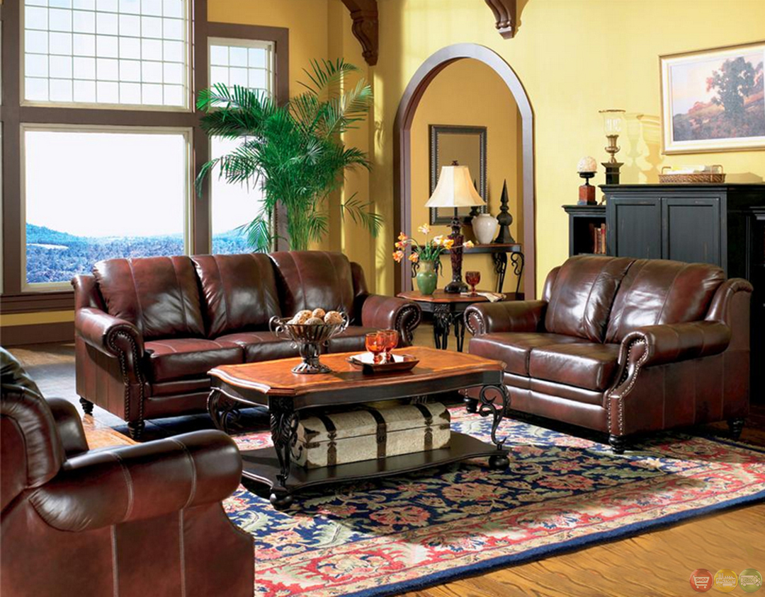 Princeton genuine leather living room sofa loveseat tri for Brown couch living room
