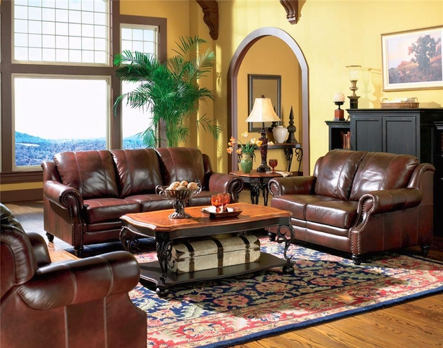 Etonnant Princeton Genuine Leather Living Room Sofa U0026 Loveseat Tri Tone Burgundy