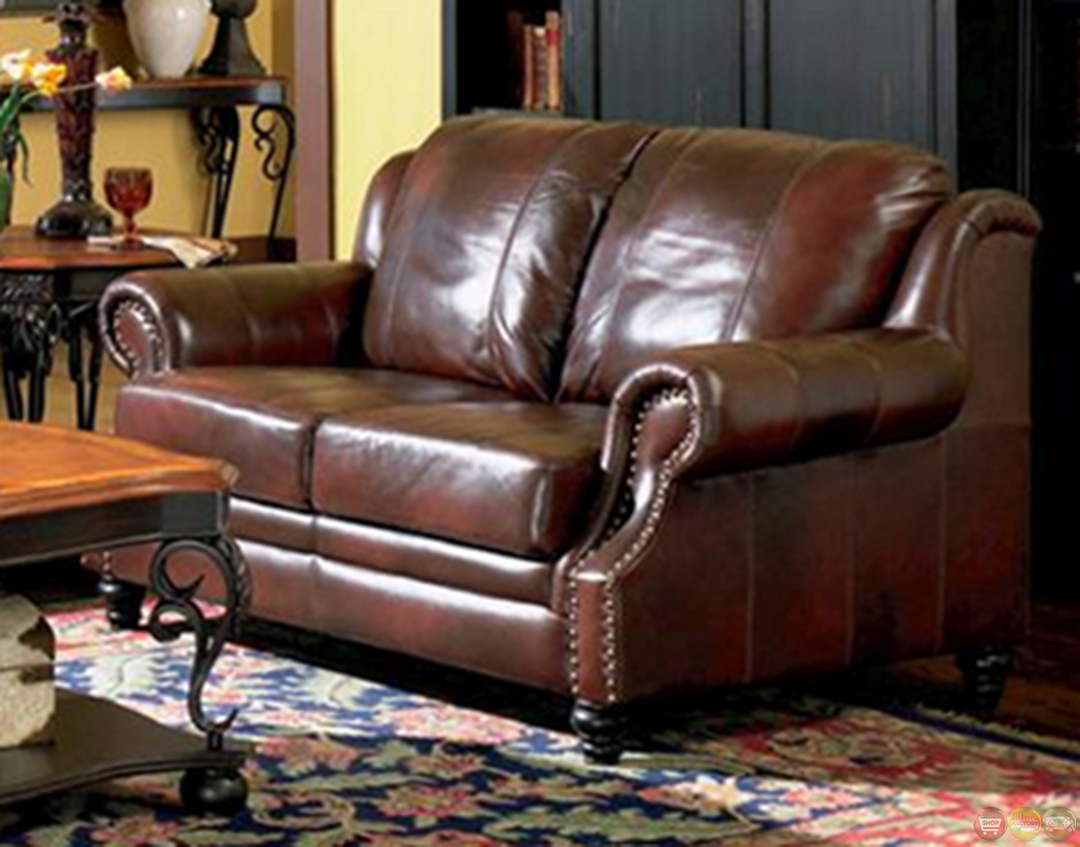 Princeton genuine leather living room sofa loveseat tri tone brown Living rooms with leather sofas