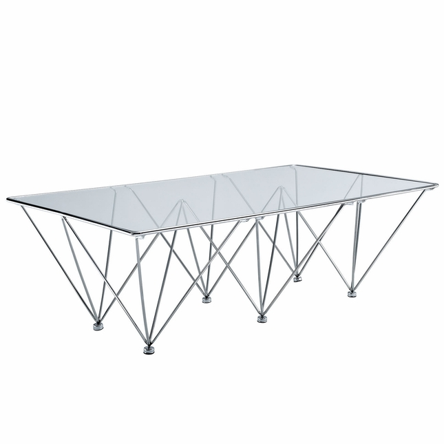 Prism Glass Top Coffee Table With Geometric Stainless