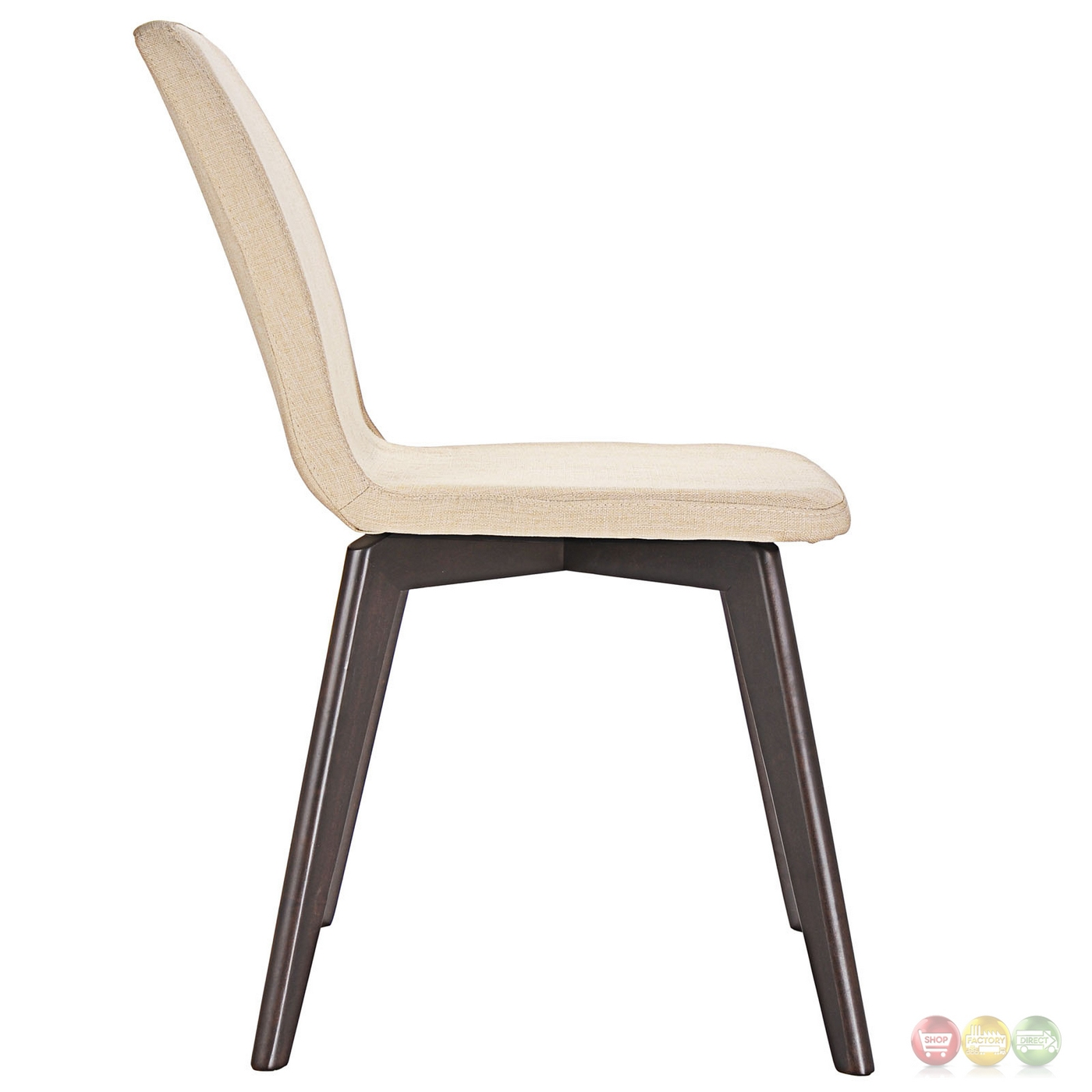 Proclaim modern upholstered wooden dining side chair for Modern walnut dining chairs
