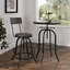 Procure Industrial Modern Wood Bar Stool With Cast Iron Base, Black