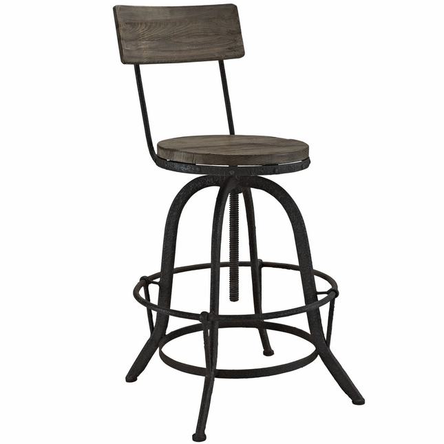 Procure Industrial Modern Wood Bar Stool With Cast Iron Base, Brown