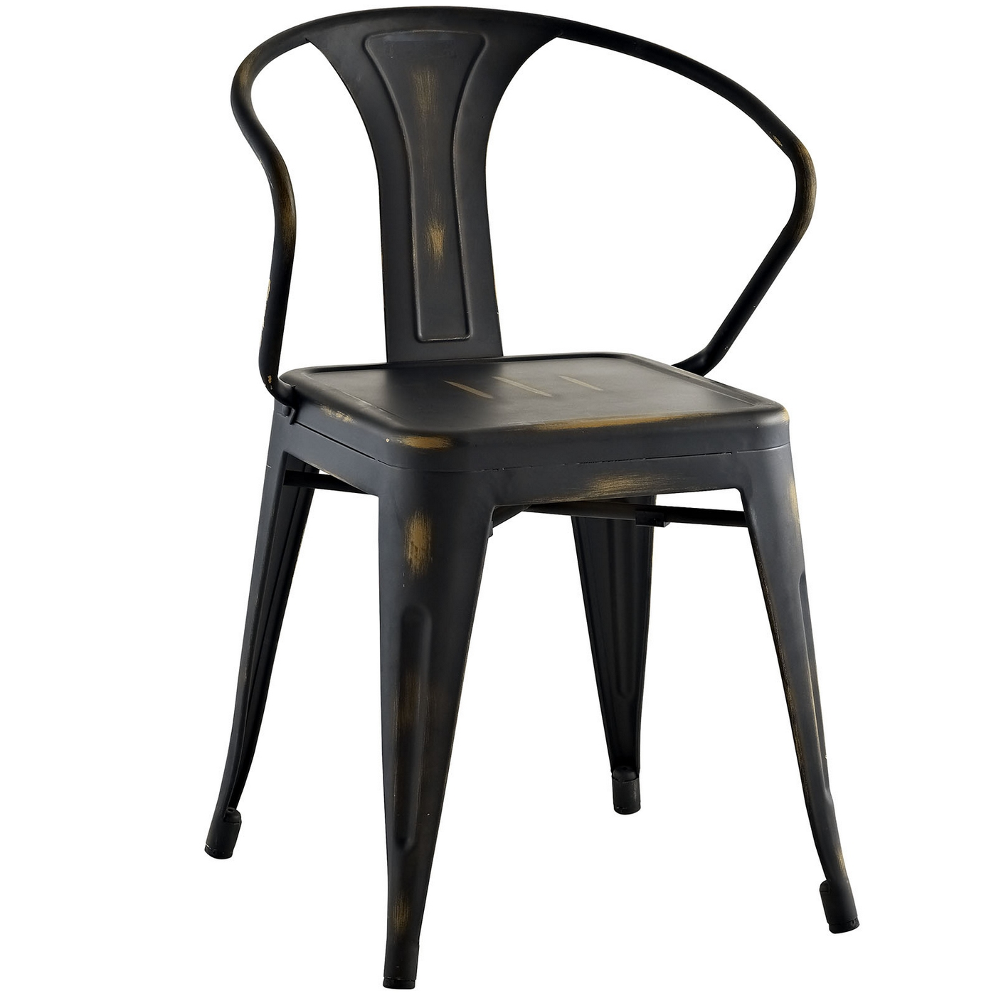 Promenade modern vintage steel arm chair with distressed for Modern arm chair