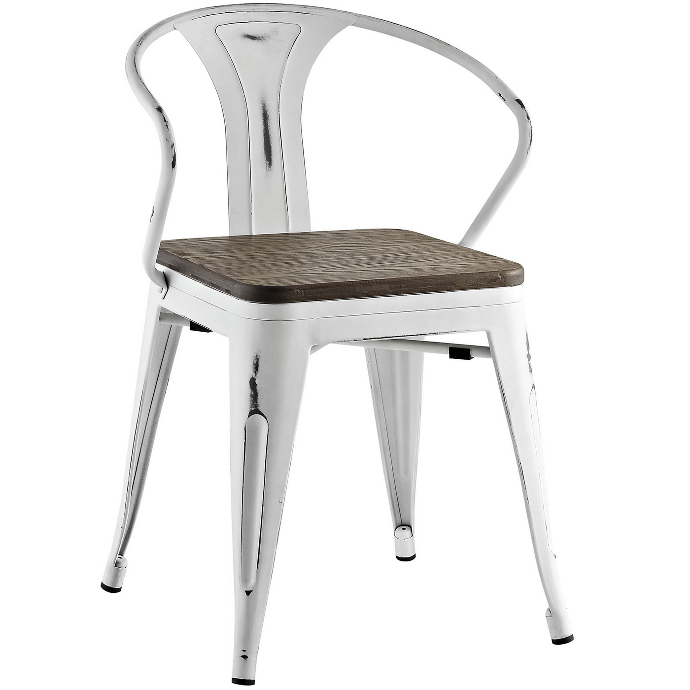 Promenade vintage arm chair w wooden seat distressed for Arm chair white