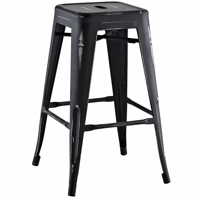 Promenade Vintage Steel Counter Height Stool w/ Distressed Finish, Black