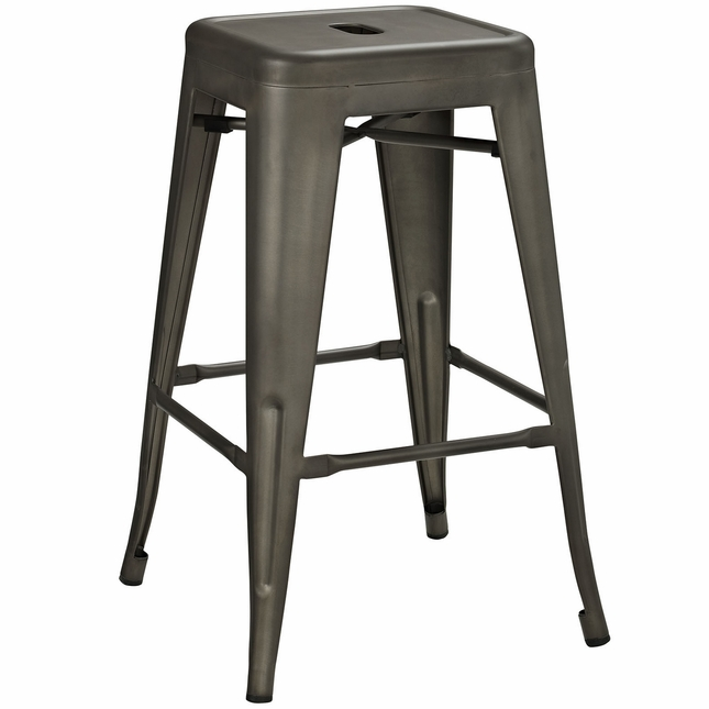 Promenade Vintage Steel Counter Height Stool w/ Distressed Finish, Brown