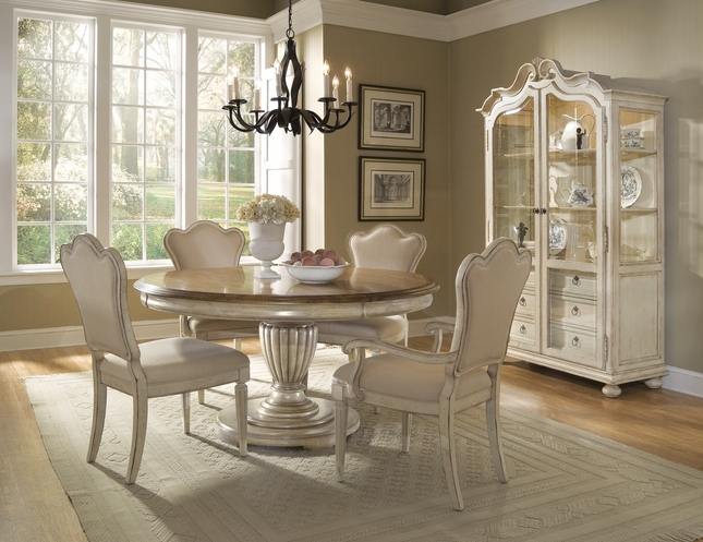 Provenance French Country Whitewash Round Oval Table Chairs Dining Room Set