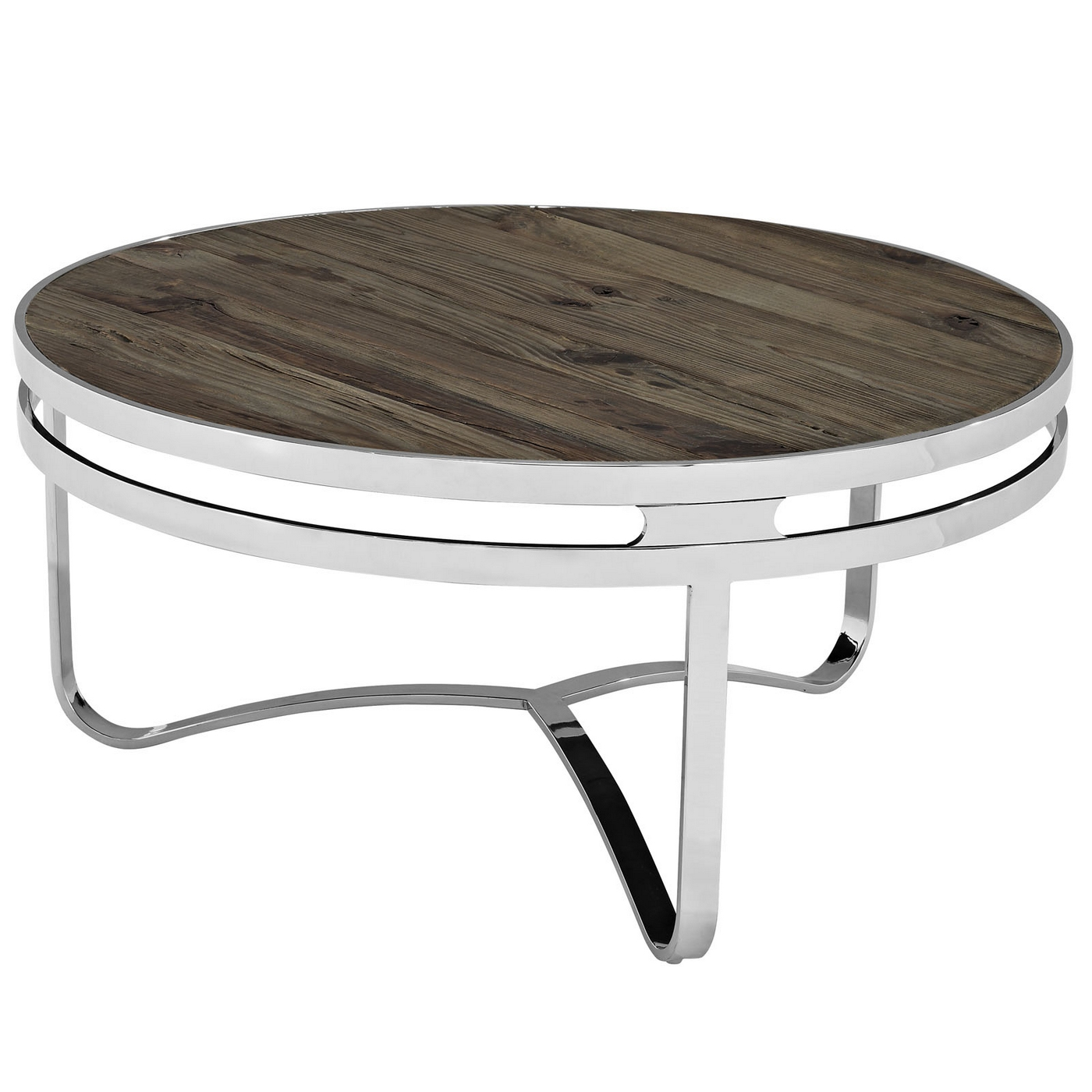 Chrome Coffee Table With Wood Top: Modern Round Coffee Table