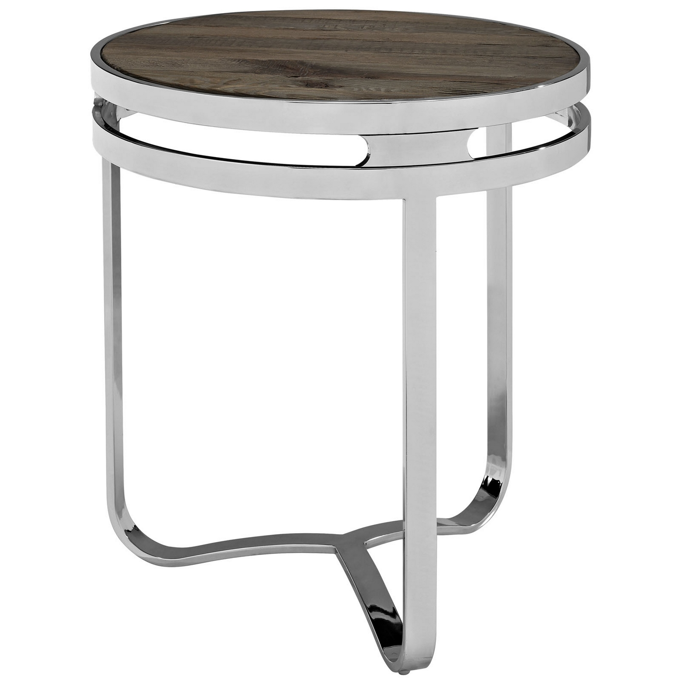 Provision industrial modern wood top end table with chrome for Side table base