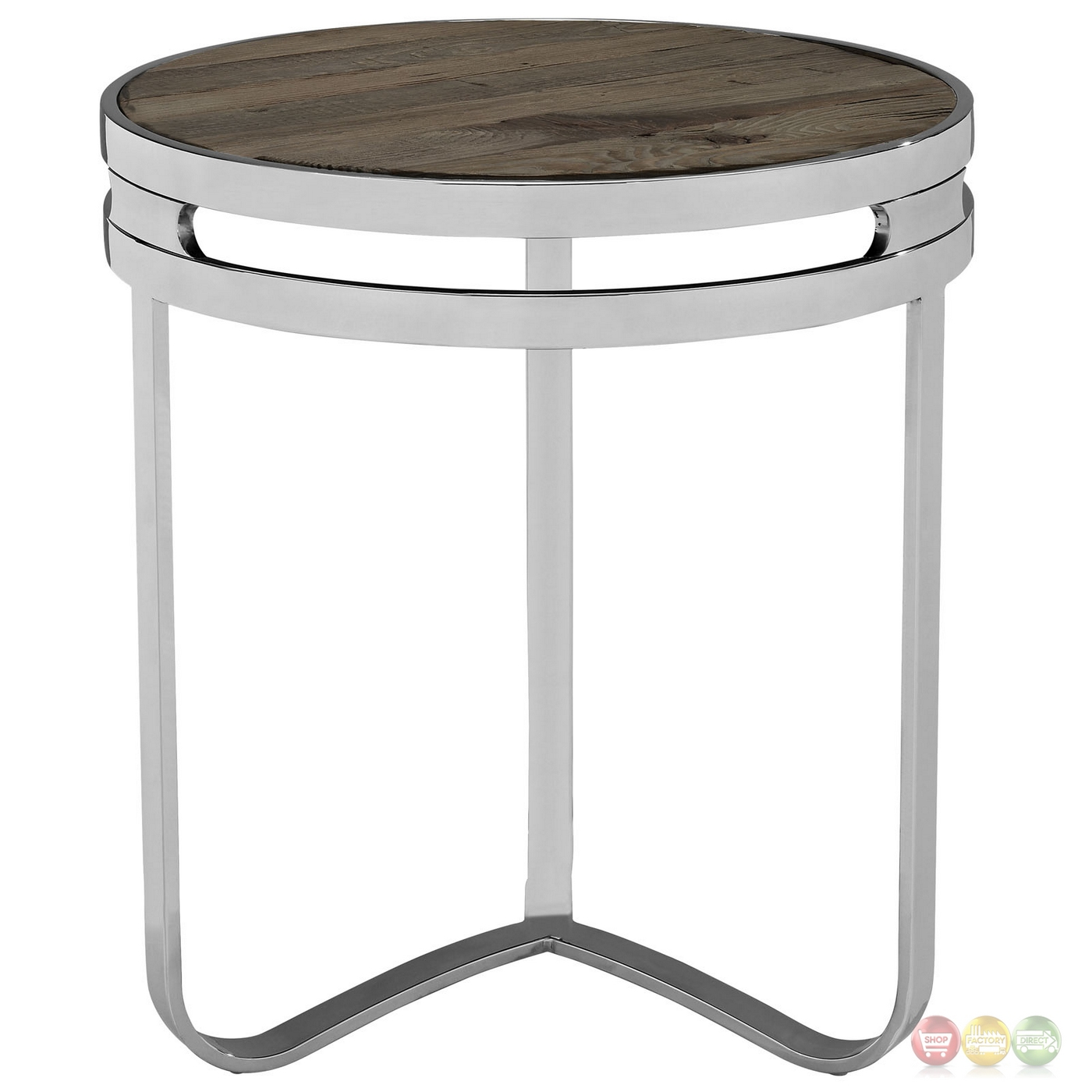 Provision industrial modern wood top end table with chrome