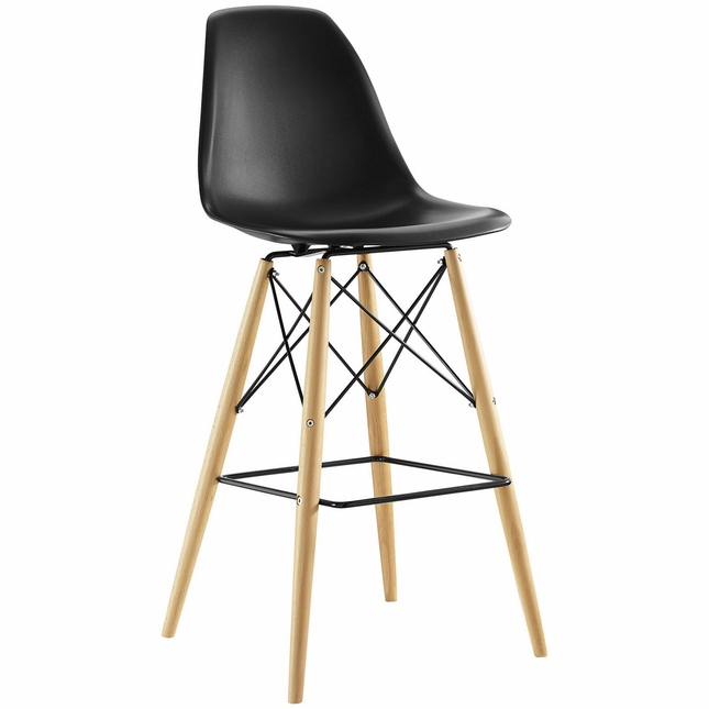Pyramid Modern Molded Plastic Bar Stool With Wood Legs, Black
