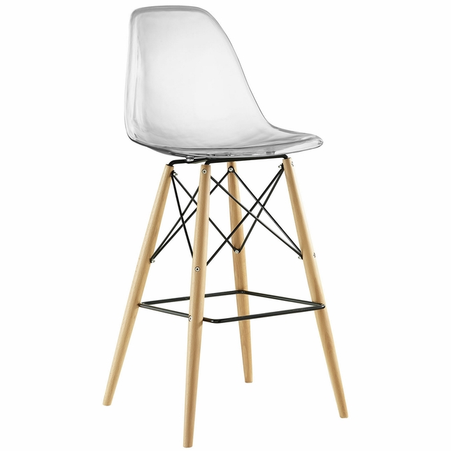 Pyramid Modern Molded Plastic Bar Stool With Wood Legs, Clear