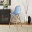 Pyramid Modern Molded Plastic Bar Stool With Wood Legs, Light Blue