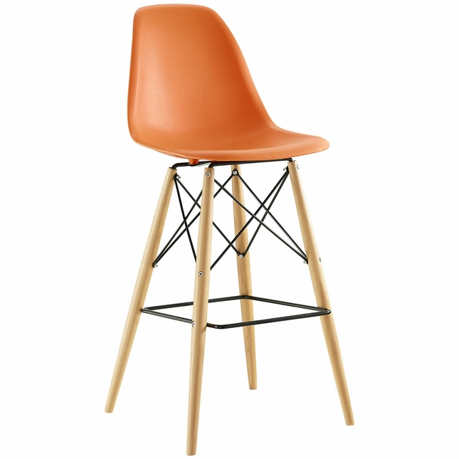 Pyramid Modern Molded Plastic Bar Stool With Wood Legs, Orange