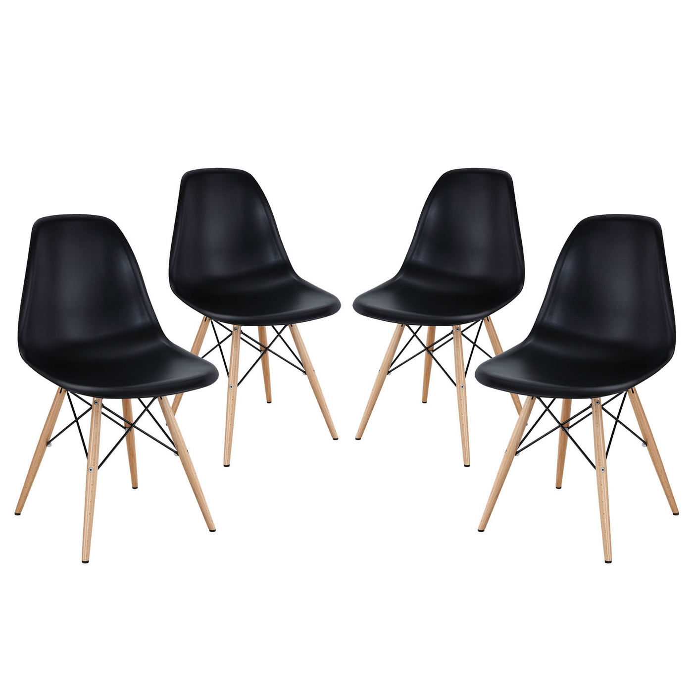 Pyramid modern molded plastic dining side chairs with for Black plastic dining chairs