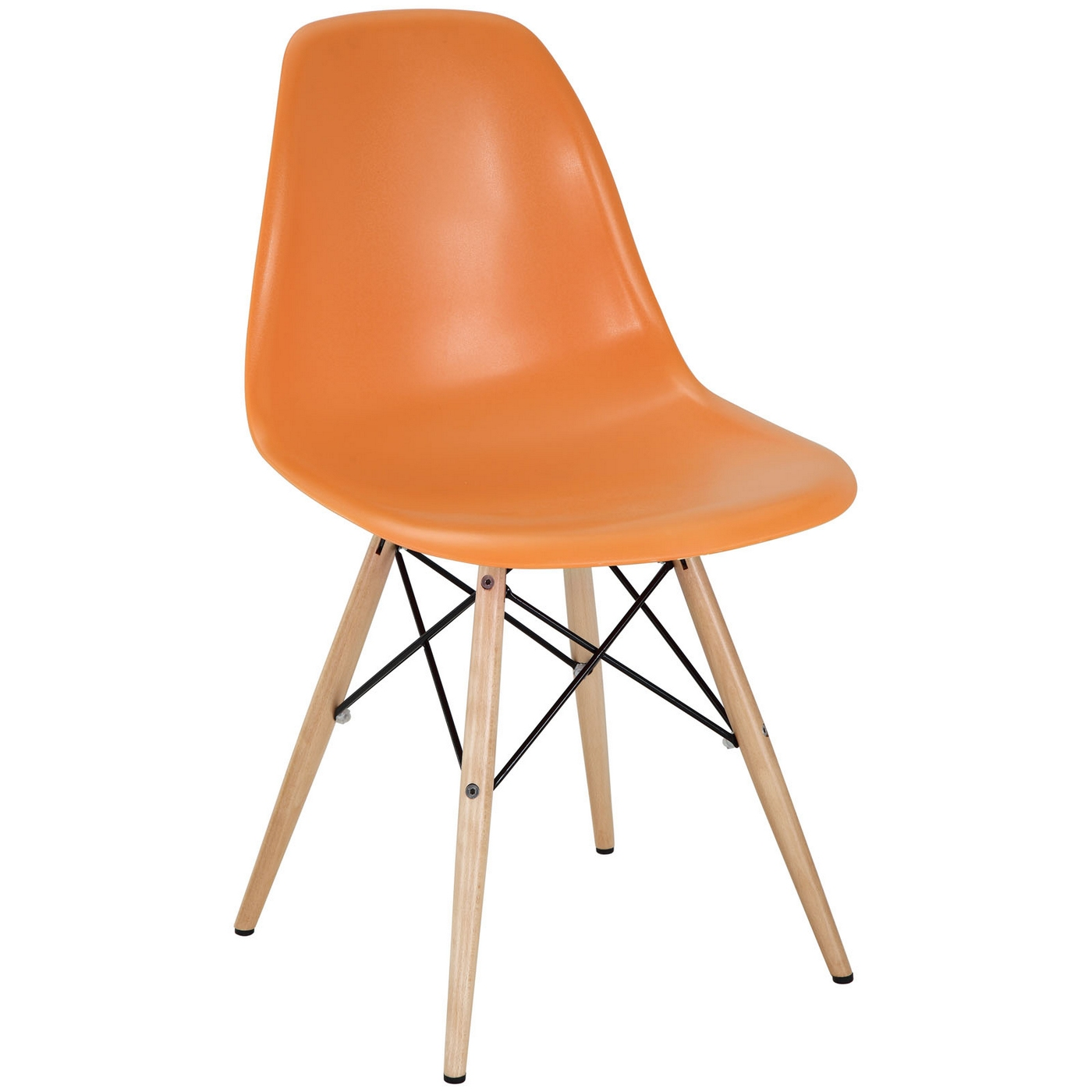 Pyramid modern plastic side chair with wood legs steel