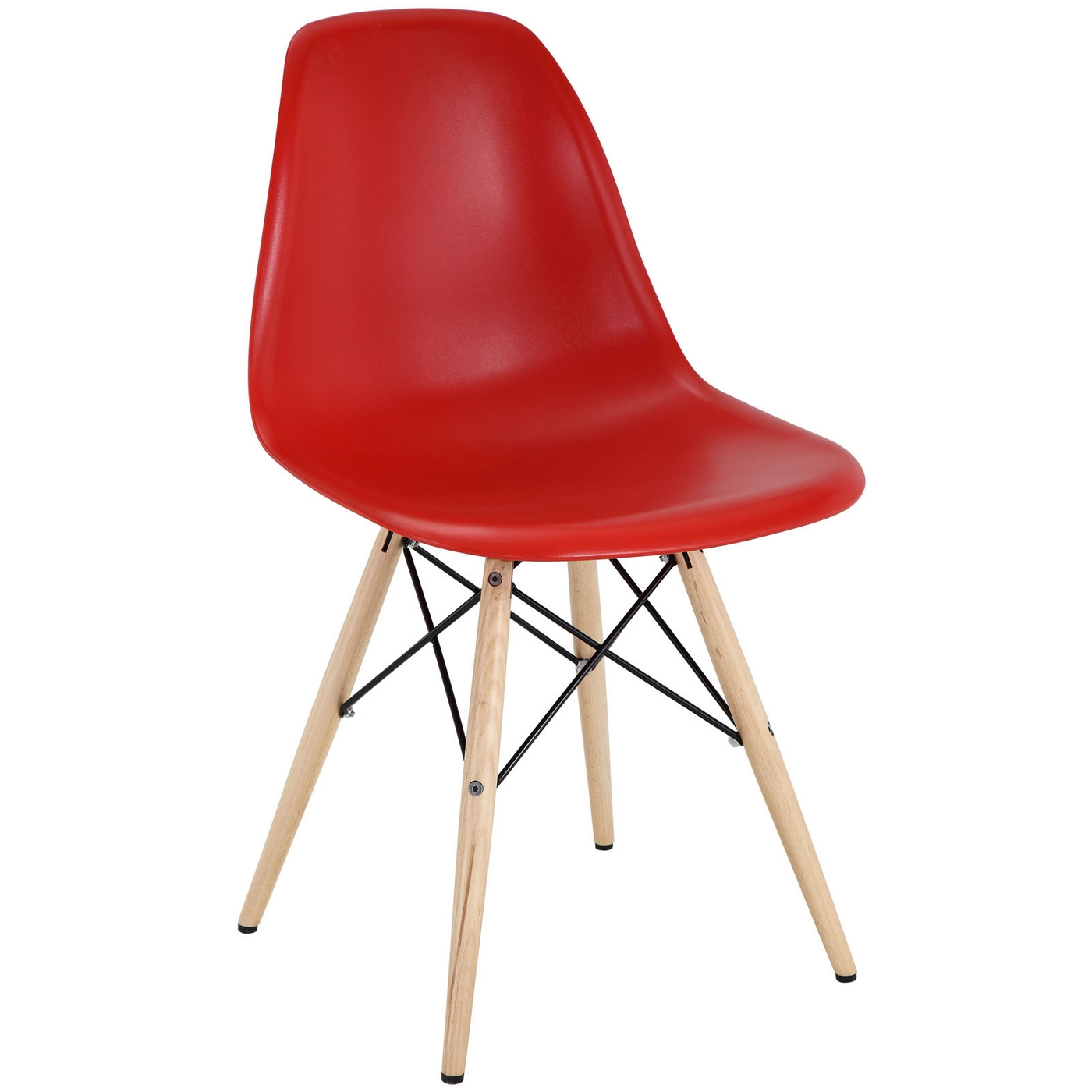pyramid modern plastic side chair with wood legs steel accents red. Black Bedroom Furniture Sets. Home Design Ideas