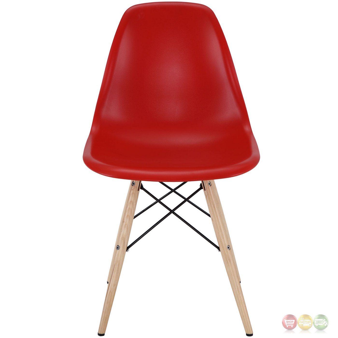 Pyramid Modern Plastic Side Chair With Wood Legs Steel Accents Red