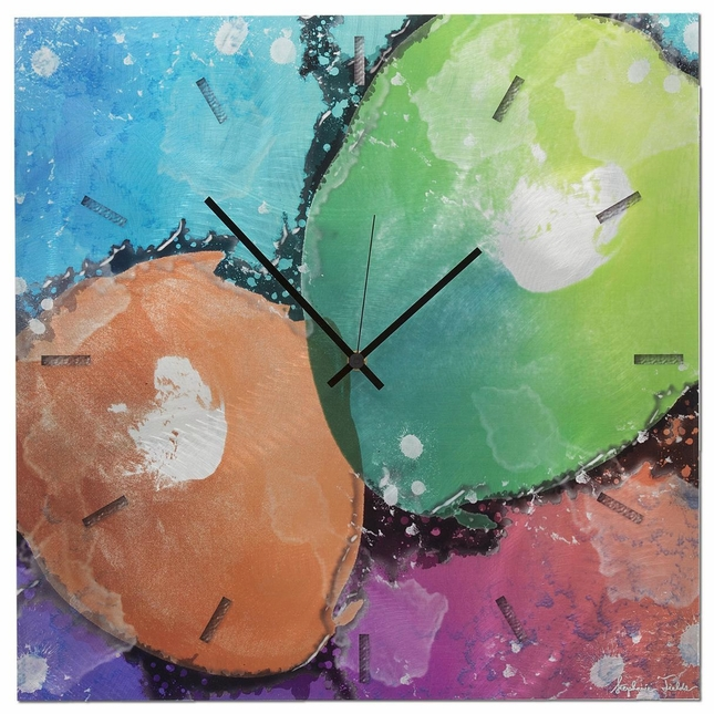 Quantum Colorful Neon Splatter Abstract Modern Wall Clock L0044