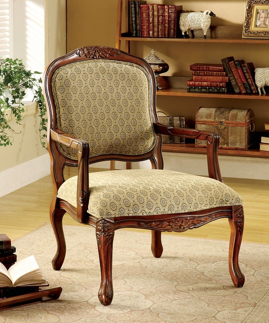 Quintus Antique Oak Accent Chair With Padded Fabric Seat