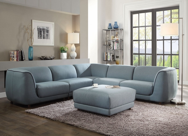 Rabah Contemporary Modular 5-pc Sectional Sofa in Light Blue Fabric