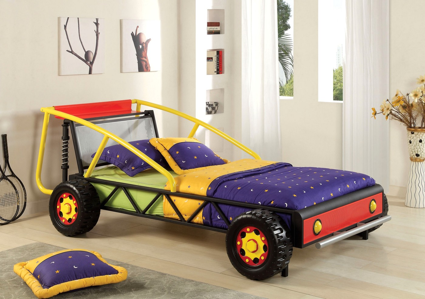 Racer Red And Yellow Car Bed With Headboard With Shelf