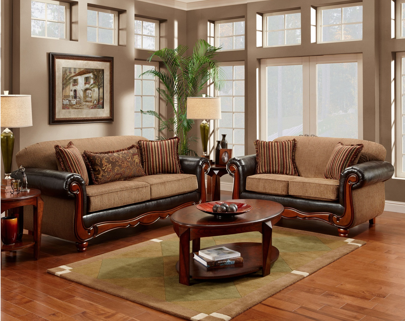 Cherry wood frame radar mocha chenille sofa loveseat set - Traditional sofa sets living room ...