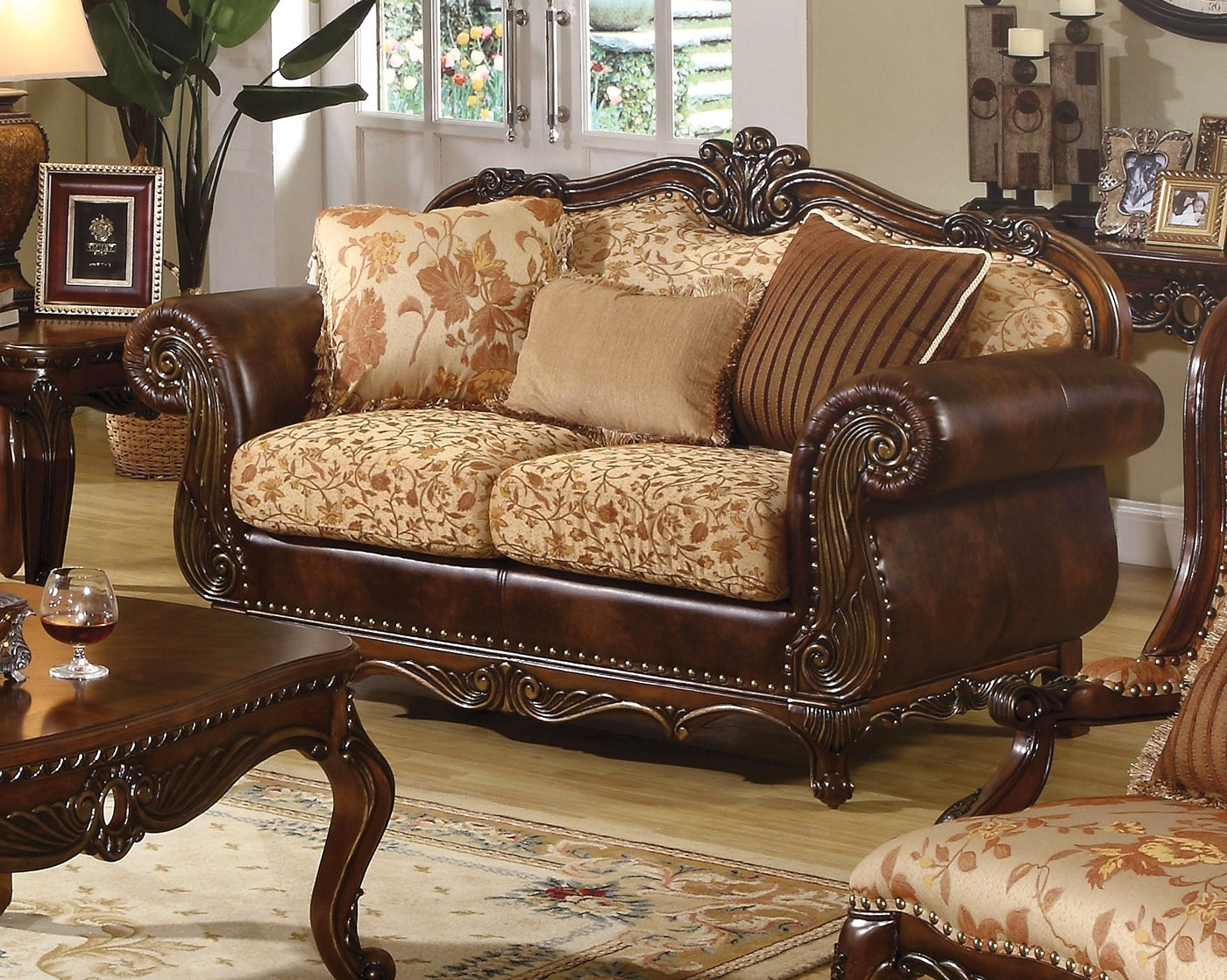 Radbourne Traditional Brown Amp Floral Sofa Amp Loveseat In