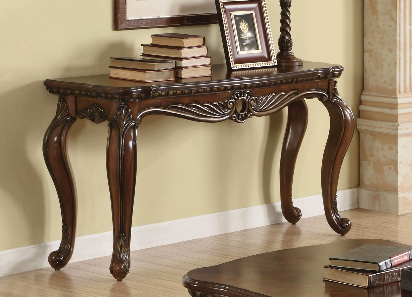 Radbourne Traditional Carved Wooden Top Sofa Table in ...