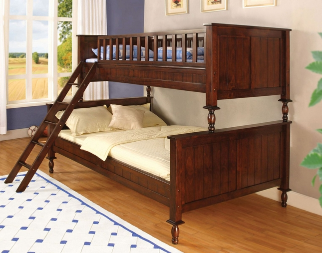 Radcliff Country Twin Over Full Wooded Bunk Bed in Brown Cherry with Ladder