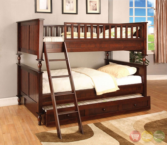 Radcliff Country Casual Brown Cherry Twin Over Twin Wooden Bunk Bed with Ladder