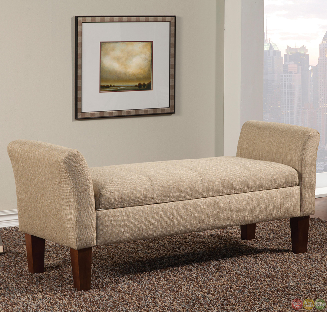 Light tan fabric upholstered storage bench with flared arms for Bedroom upholstered bench