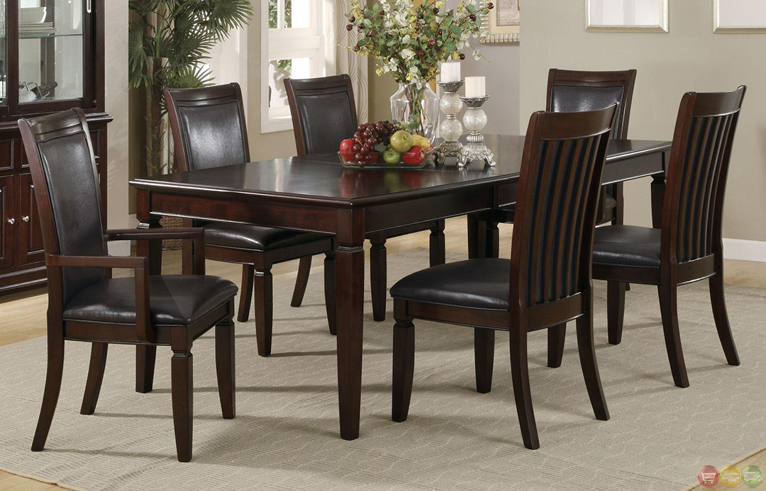 Ramona 7 piece walnut finish casual dining room set for Casual dining room sets