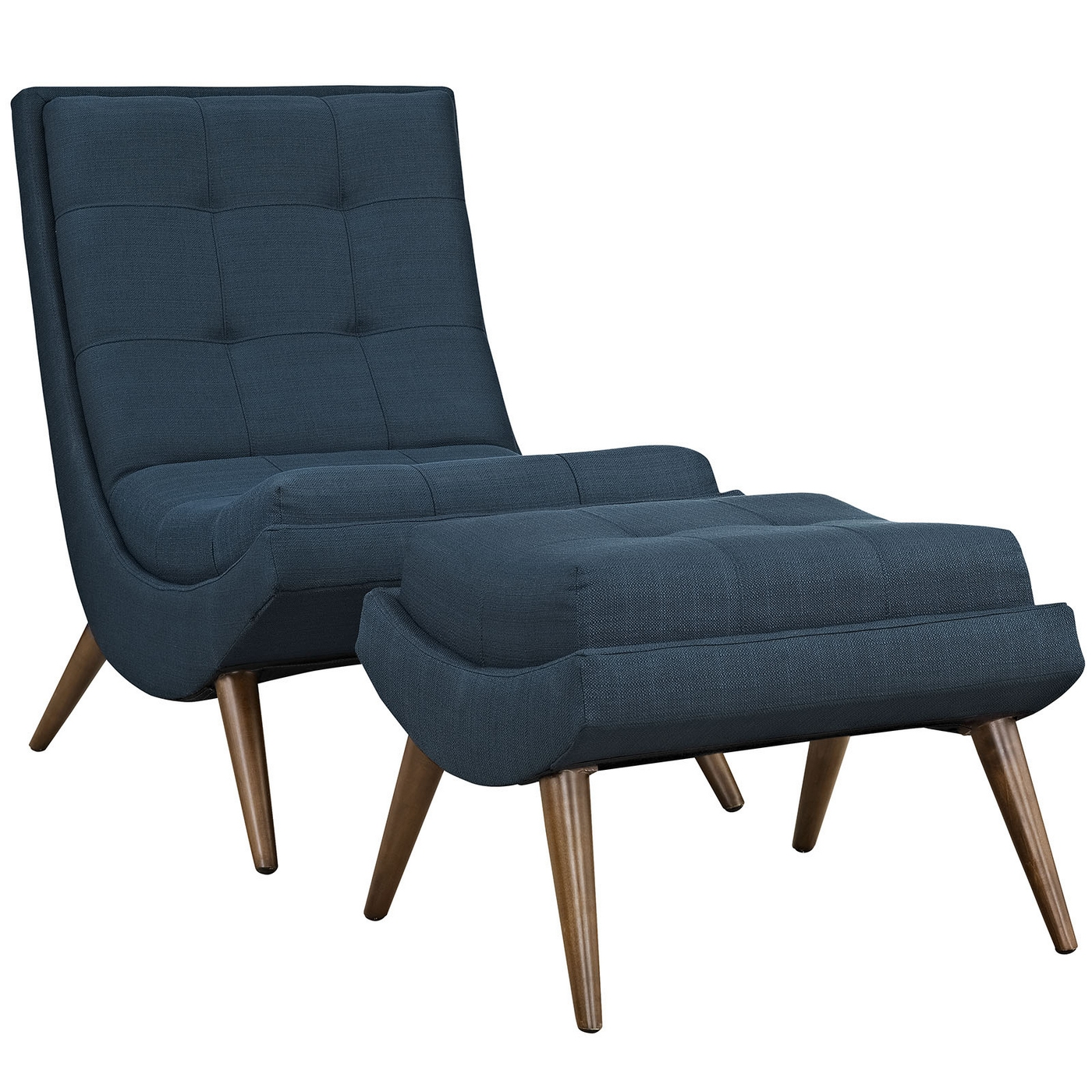 Ramp modern upholstered lounge chair and ottoman with wood for Modern lounge furniture