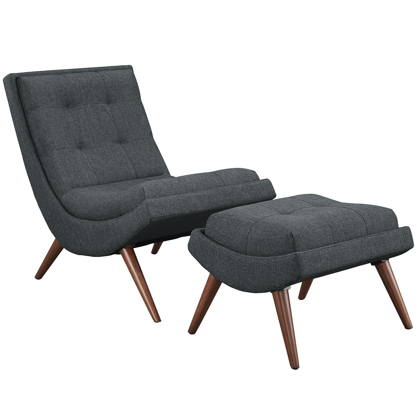 Ramp Modern Upholstered Lounge Chair And Ottoman With Wood