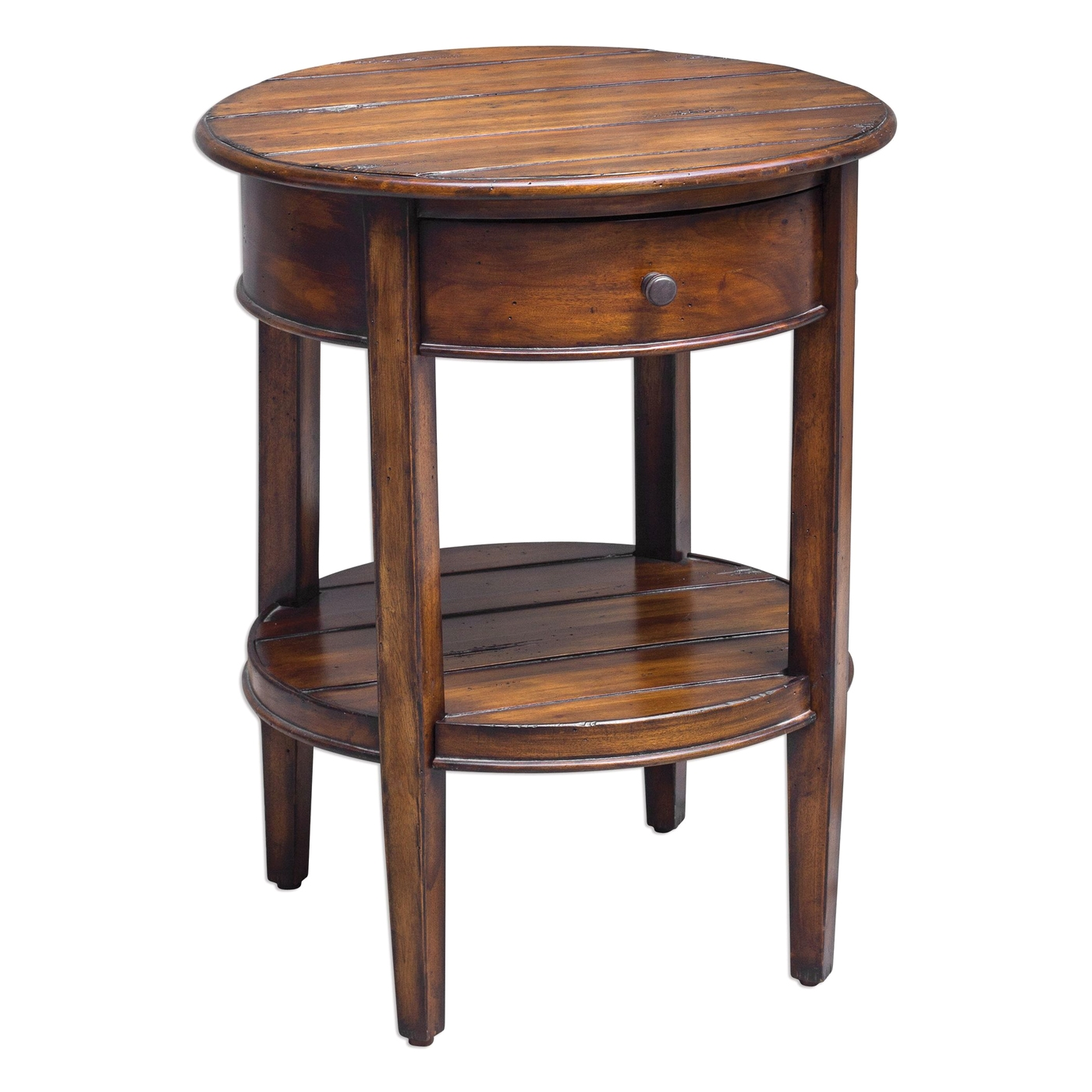 Ranalt Round Deep Grained Mahogany Accent Table With