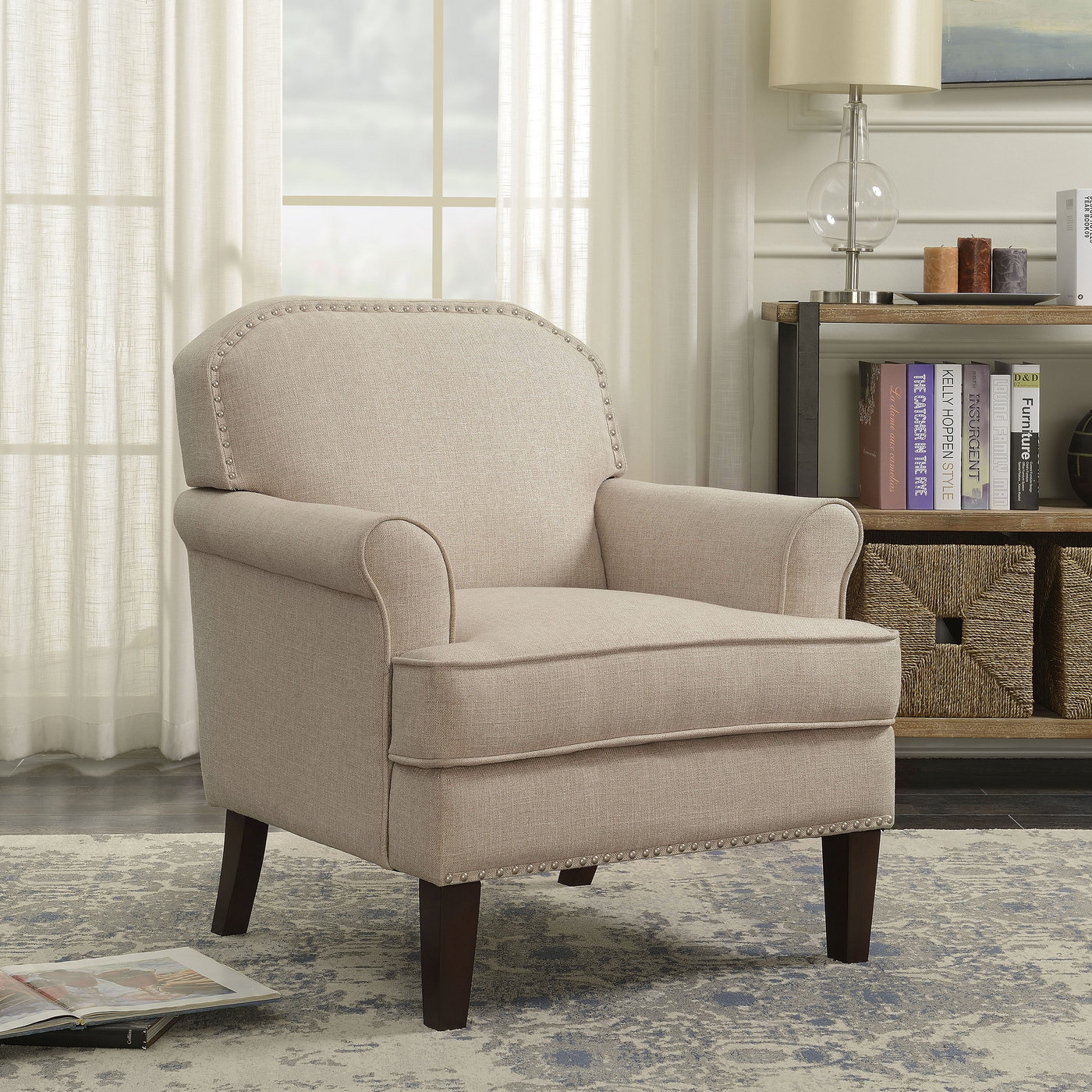 Raven Rock Transitional Roll Arm Accent Chair With
