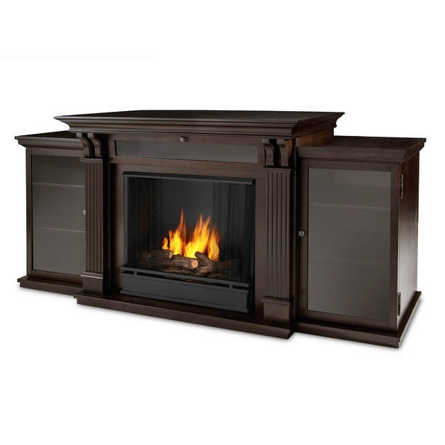 Real Flame Ashley Entertainment Center Ventless Gel Fireplace in Dark Walnut