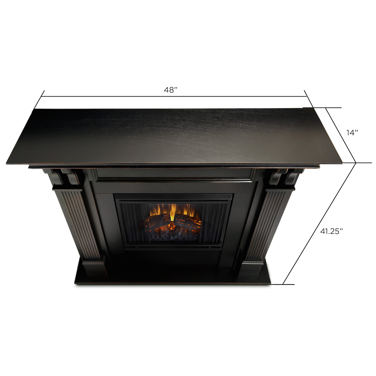Real flame ashley indoor electric fireplace in black wash for Direct flame