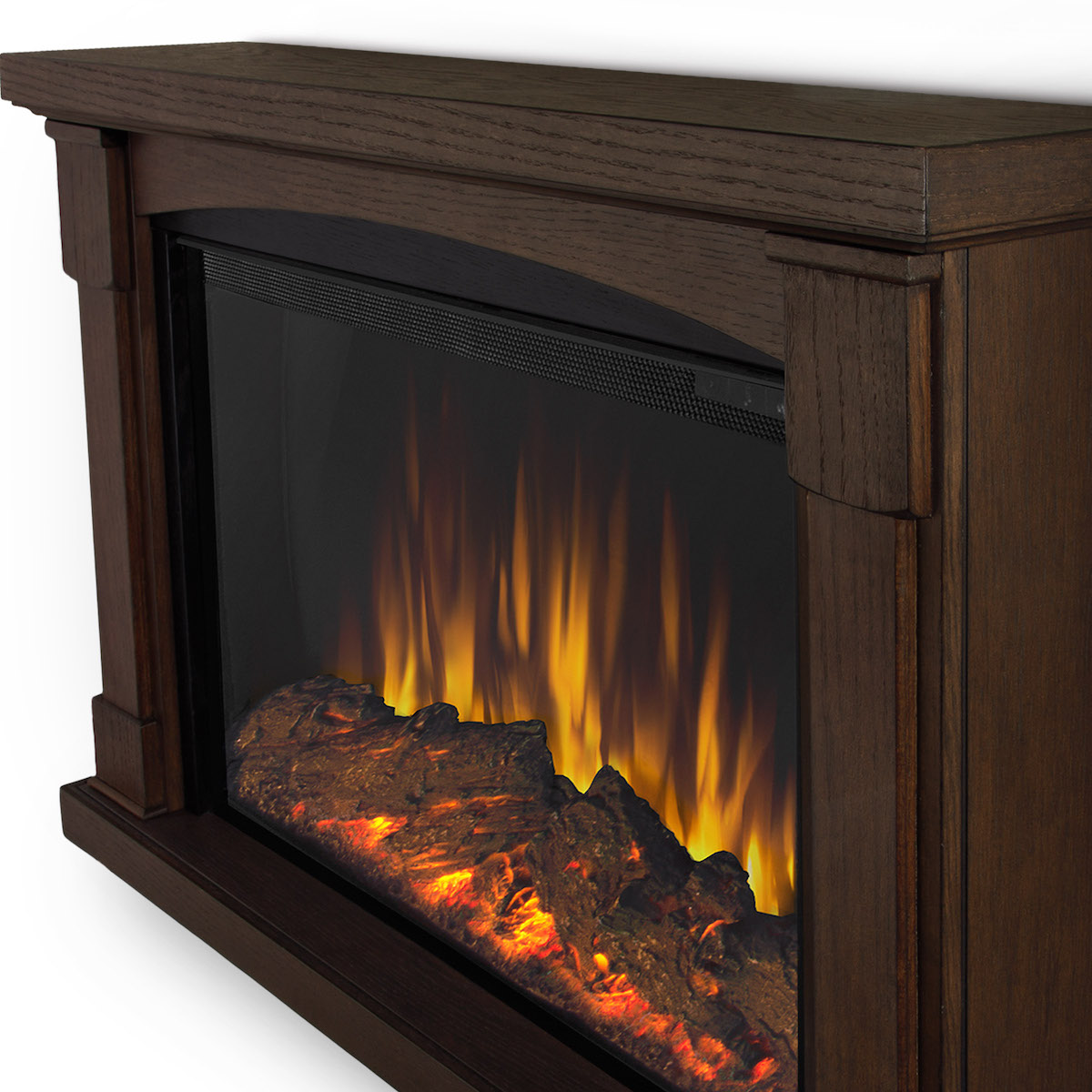 Real Flame Brighton Slim Line Wall Hung Electric Fireplace In Chestnut Oak