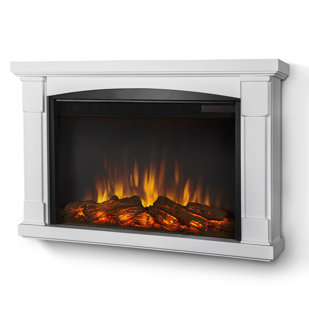 Real Flame Brighton Slim Line Wall Hung Electric Fireplace In White