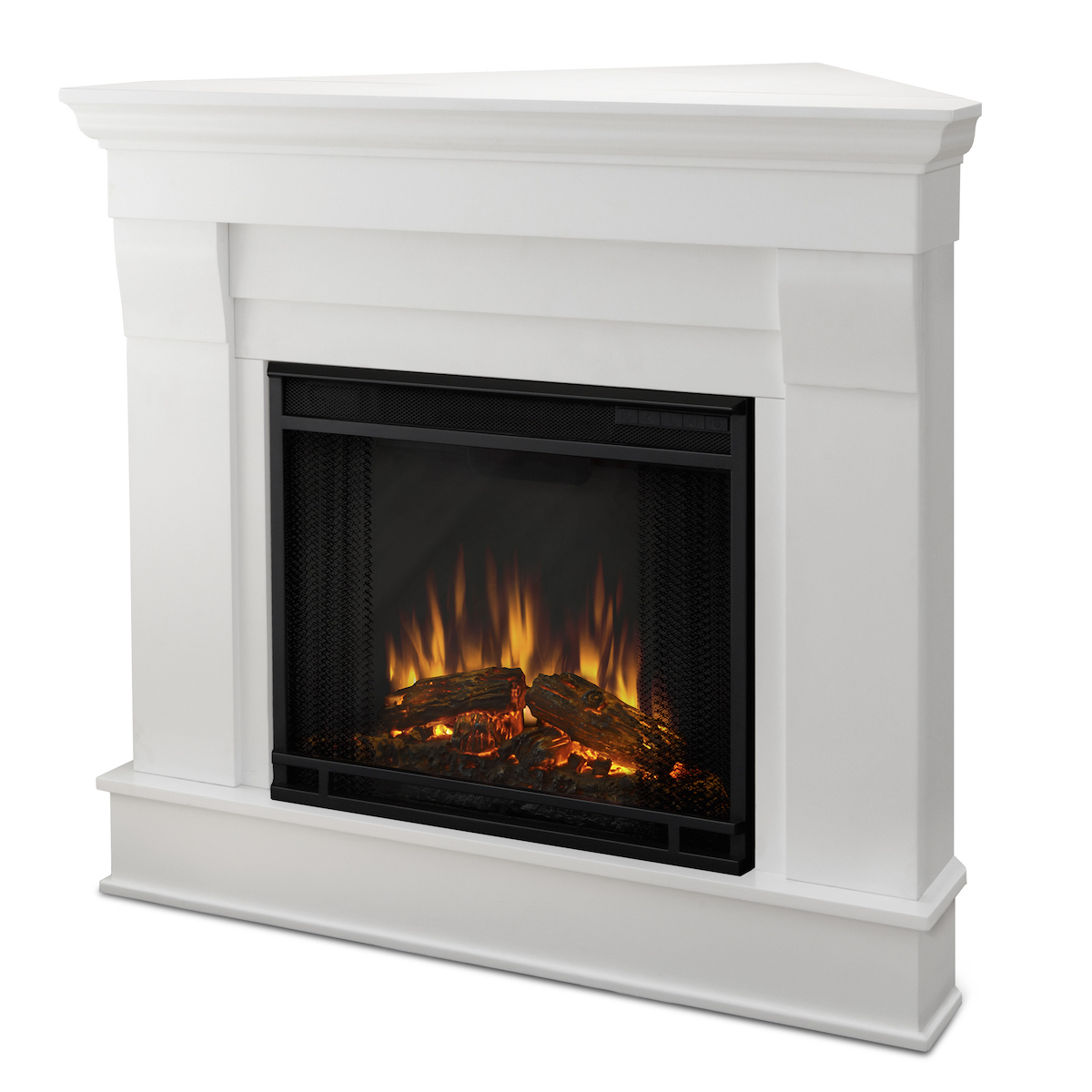 real flame chateau corner electric fireplace in white
