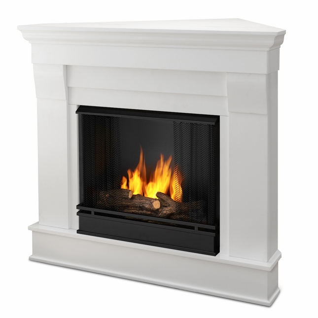 Real Flame Chateau Corner Ventless Gel Fireplace in White